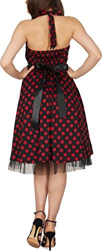 Black Butterfly 'Rhya' Vintage Polka-Dots Kleid im 50er-Jahre-Stil (Schwarz – Rote Punkte, EUR 38 – S) - 5