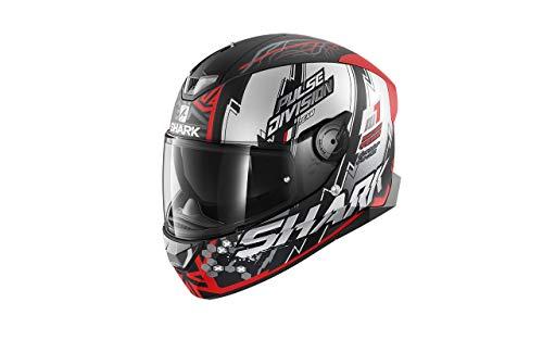 SHARK Herren NC Motorrad Helm, Schwarz/Weiss/Rot, L
