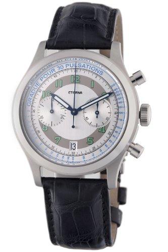 Eterna Watches Herren 'Kontiki Heritage Chrono' Automatik-Uhr, Edelstahl und Leder, Farbe: Schwarz (Modell: 1942.41.64.1177)
