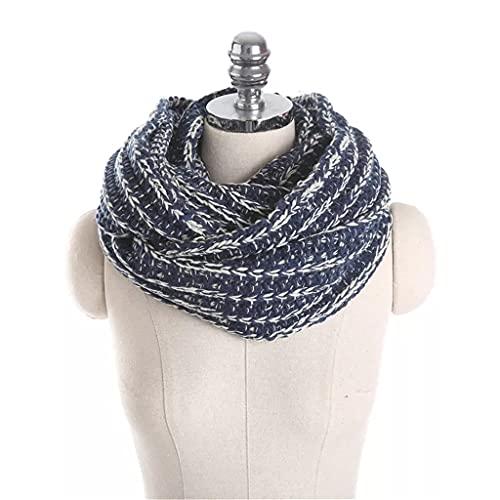 Spnec Bufandas de anillo de primavera/invierno para mujer,bufanda de lana gruesa,chales y abrigos,babero de cuello cálido grueso de Color puro (Color : Navy Blue, Size : 70 * 30 cm)