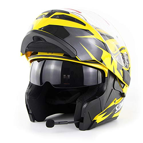 BHQF Motorrad Bluetooth Vollhelm/Erwachsene Rennrad Rennrad Motorradhelm Cromwell Helm Jet Doppelspiegel Modularer Flip-Helm (S, M, L, XL, XXL),Yellow,L