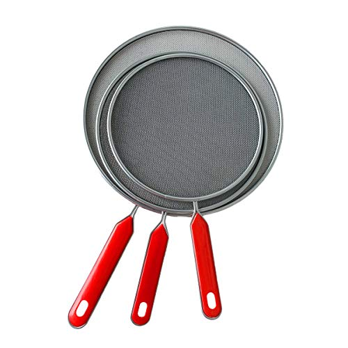 3 Pieces Grease Splatter Screen For Frying Pan Cooking, 7.5in, 8.3in, 9.8in, Stainless Steel Grease Splatter Guard, Super Fine Mesh Iron Skillet Lid for Kitchen Frying Pan Cooking Supplies