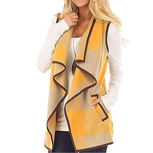 OSYARD Damen Jacken Mäntel Waistcoat, Frauen Vest Weste Kariertes Ärmelloses Revers Offene Vordere Strickjacke Winter Warm Ultraleicht Sherpa Jacke mit Taschen Vintage Slim Fit Outwear Coat