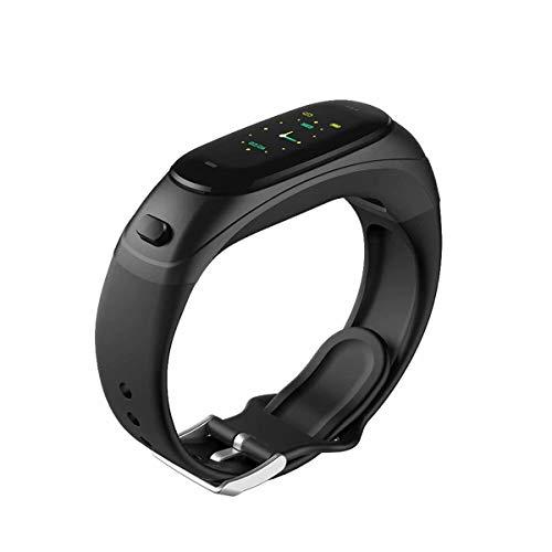 DEGH Modern Intelligente Uhr,Touchscreen zur Erkennung von Herzfrequenz und Blutdruck, verwendet in Sport-Schritt-Armband, Bluetooth-Musik-Headset-Combo-Anruf-Black