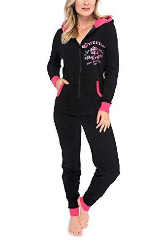 maluuna Damen Jumpsuit Onesie Jogger Hausanzug Overall in hochwertiger Sweater-Qualität mit Bündchen am Arm- und Beinabschluss, Farbe:schwarz, Größe:L