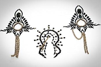 Black Chain Burlesque Pasties Costume Lingerie Vajazzle - Intimate Classic Crystal Vajazzle Nipple & Breast Stick on Jewel Pasties