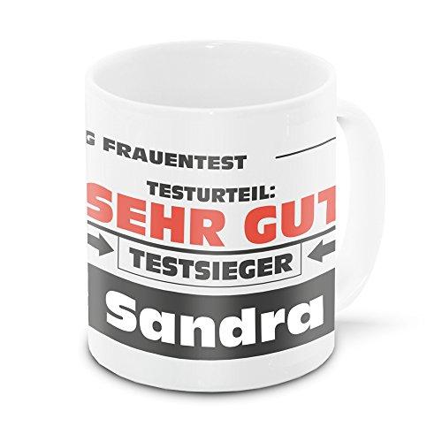 Namens-Tasse Sandra mit Motiv Stiftung Frauentest, weiss | Freundschafts-Tasse - Namens-Tasse