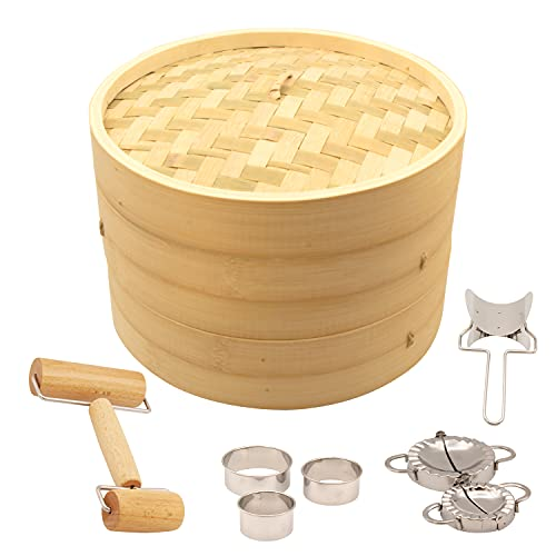 """10"""" Bamboo Steamer Basket, Stackable 2-Tier Asian Cooking Pot for Authentic Chinese, Thai, or Japanese Bao Buns, Dim Sum, Rice, Fish, and Dumplings, Includes Paper Liners and Accessories"""