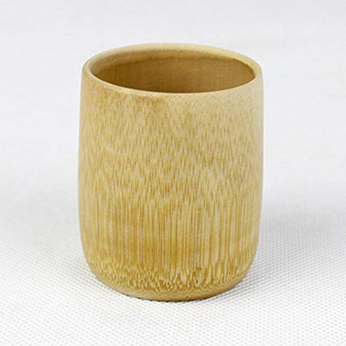 Viner natuurlijke bamboe drinkbeker thee bier vintage koffie sap melkbeker japanse stijl houten beker ontbijt bier melk, geel, lt; 200ml
