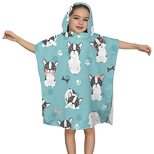 DIRYKILP Cute French Bulldog Hooded Towel, Kids Hooded Bath Towel, Ultra Soft Microfiber Absorbent Towel, Hooded Bath Cloak for Kids 2 to 7 Years 23.7X23.7in