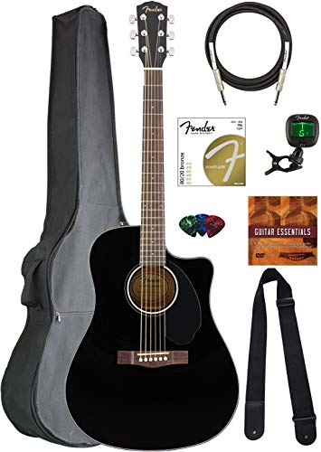 Fender CD-60SCE Solid Top Dreadnought Acoustic-Electric Guitar - Black Bundle with Gig Bag, Tuner, Strap, Strings, Picks, and Austin Bazaar Instructional DVD