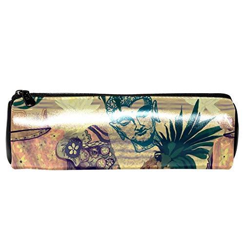 EZIOLY - Estuche de piel con diseño de elefantes indios, flores, piñas,...