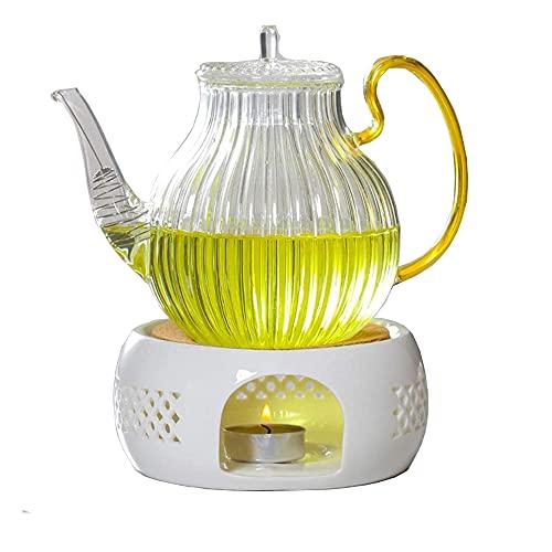 Stövchen,Teewärmer aus Keramik Teekanne Wärmer Hohl Geschnitztes Design Heizung Kaffeewärmer,Stövchen Teekanne Basis,Porzellan Heizung mit Kork Kissen für die Wärmeerhaltung von Tee undKaffee Geeignet