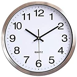 The B-Style TB 12 Inch Modern Wall Clock Silent Non Ticking Easy to Read Decorative Wall Clocks for Living Room Decor Home Office Kitchen (Silver- White)
