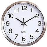 HOSTON 12 Pulgadas Reloj Pared Grande silencioso sin tictac, Marco de Aluminio metálico Decoración Moderna Reloj de Pared Digital para Cocina, Sala de Estar, Oficina, Dormitorio, Aula(Metallo Bianco)