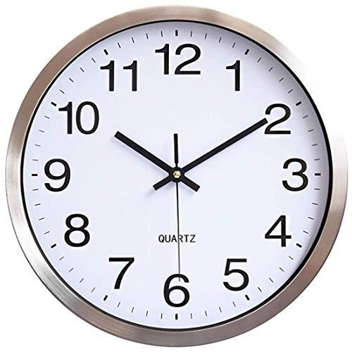 HOSTON 12 Pulgadas Reloj Pared Grande silencioso sin tictac, Marco de Aluminio...