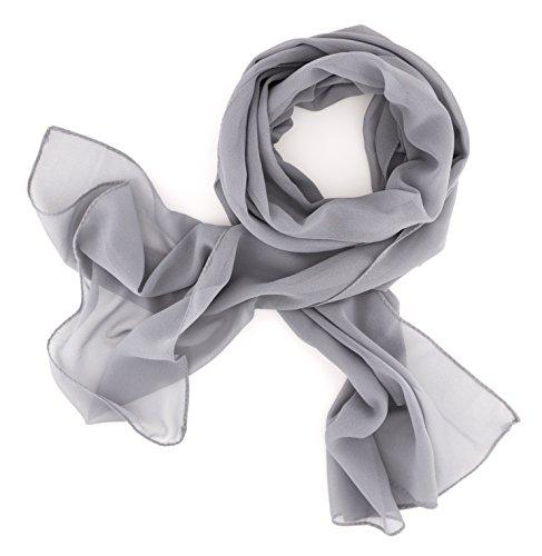 Dolce Abbraccio Damen Schal Stola Halstuch Tuch aus Chiffon für Frühling Sommer Ganzjährig Grau