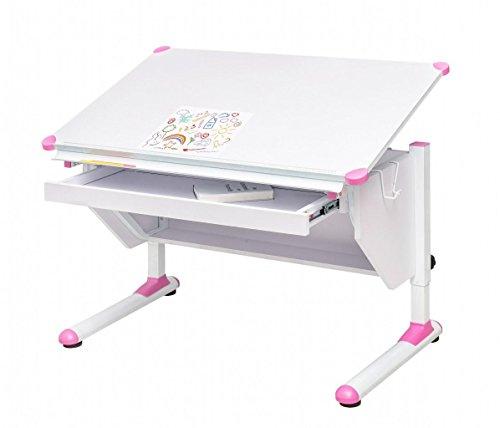 MSZ Design Kinderschreibtisch Schülerschreibtisch Variant weiß verstellbar mit Schublade und Wechselkappen in Grau und Pink für Jungs und Mädchen