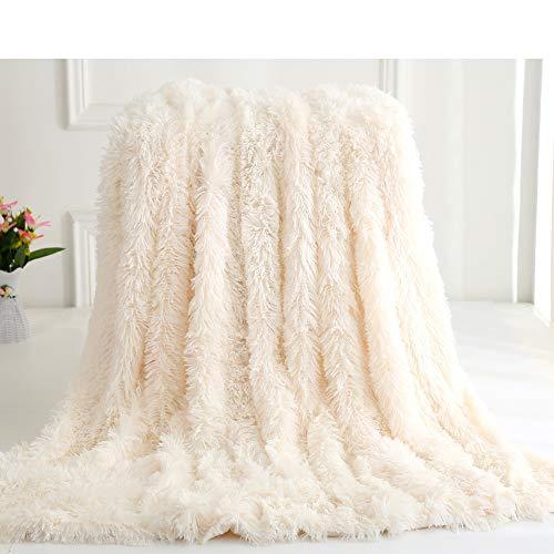 Nicole Knupfer Manta de pelo largo de microfibra para el aire acondicionado, para sofá o cama, color blanco, 130 x 160 cm