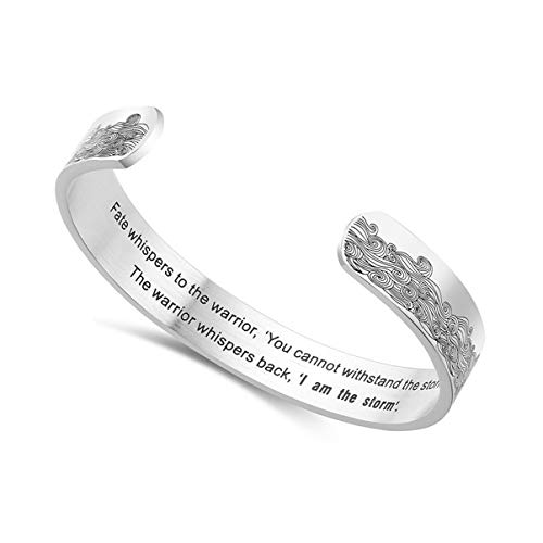 Happyyami Silver Cuff Bangle Bracelet Inspirational Friendship Gifts Statements Cuff Motivational Birthday Gifts for Women Men