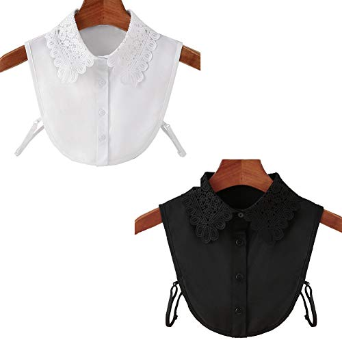 MEISHU Top Camicetta Mezza Camicia da Donna 2 Pezzi, Colletto Staccabile della Camicetta da Abbinare ai Maglioni