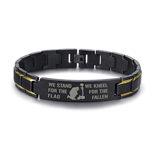 Stainless Steel Bracelet We stand for the flag We kneel for the fallen Bracelet Veterans Navy Army gifts idea
