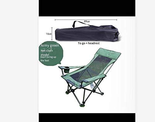 YAOHONG Colchonetas, sillas portátiles, Cojines, Patio Interior y Exterior terraza en el jardín, sillas Plegables de Cubierta Cómodo sillón reclinable (Color : Green)