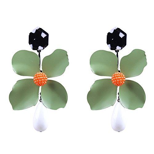 YAZILIND de aleación de alta calidad hojas de flores de agua gota de resina pendiente pendientes para mujeres niñas 6 colores disponibles (verde)