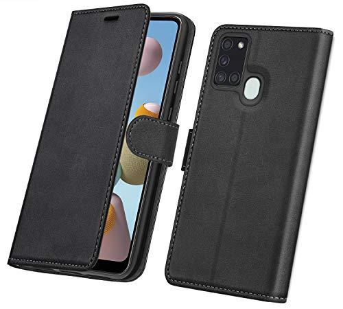 ykooe Cover per Samsung Galaxy A21s, Custodia in Pelle Premium Portafoglio Flip Cover per Samsung Galaxy A21s, Nero
