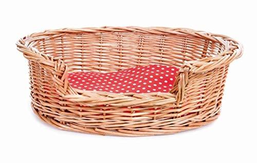 Hundekorb mit rot/weiß kariertem Kissen für Plüschhunde zum Spielen 33X45X44 cm