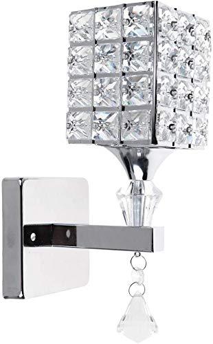 Modern Crystal Lámpara de pared colgante Dormitorio Pasillo Living Room Lámpara de pared con portalámpara E14, bombilla no incluida (Plata)