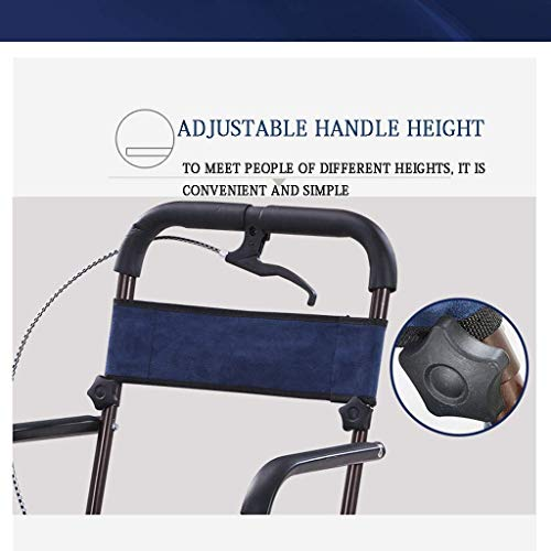 Mnjin Wheelchair Portable Old Man Shopping Trolley Helper Can Sit Folding Four Transport Chair,Blue Creative Home