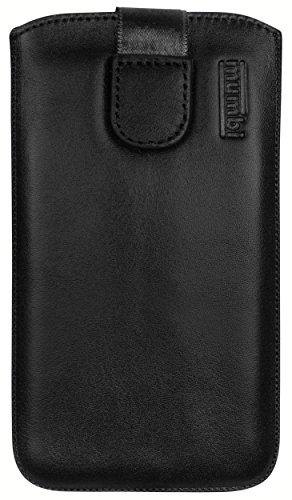 mumbi Echt Ledertasche kompatibel mit Sony Xperia P Hülle Leder Tasche Case Wallet, schwarz