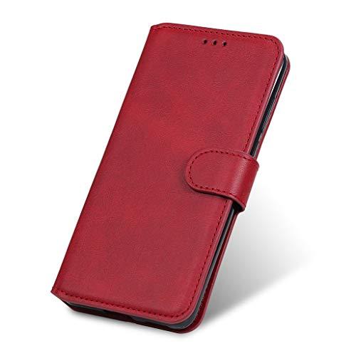 GOGME Funda para Motorola Moto E7 Plus Funda con Billetera, Suave PU Cuero Flip Carcasa Case Cover con Soporte/Tapa Tarjetas, Ultrafino Cubierta Magnética para Motorola Moto E7 Plus, Rojo