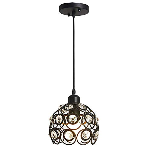 "Antique Pendant Light, MKLOT Ecopower Retro Vintage Style 7.87"" Wide Black Metal Crystal Hollow Multi Pendant Hanging Lighting Ceiling Lamp Chandelier use 1 E26 Bulb"