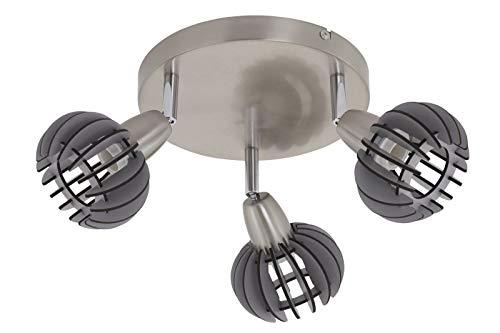 Lámpara de techo de 3 focos Briloner 2852-036R foco Gris Madera