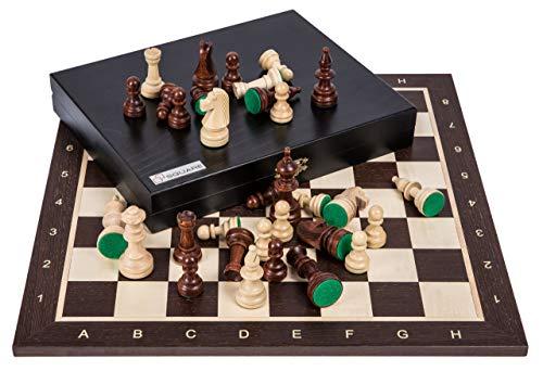 Square - Pro Schach Set Nr. 5 - WENGE LUX - Schachbrett Schachfiguren Staunton 5 Kasten - Schachspiel aus Holz
