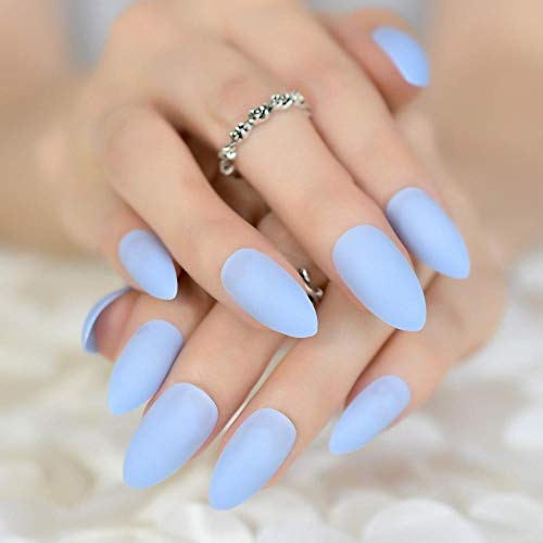 CLOAAE Fake Artificial Acrylic Nail Tips Light Sky Blue Rough Surface Tip For Manicure 24
