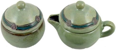 Mara Ceramic Stoneware Antique Green Small Creamer and Sugar Set