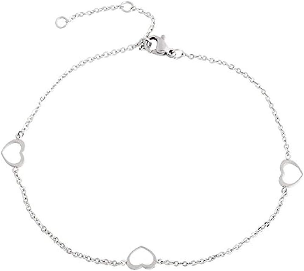 Edforce Stainless Steel Women Girls 3 Hollow Heart Charms Anklet Bracelet Foot Jewelry, 8.5