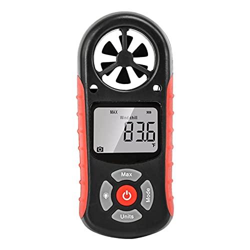 Anemómetro digital: aplicación de mano de anemómetro digital con medidor de viento de paleta inalámbrico Bluetooth para medir el viento, la temperatura y el enfriamiento del viento con luz de fondo (s