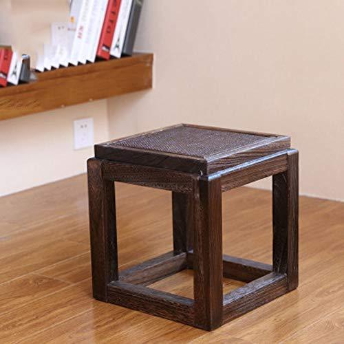 PanYFDD Chinese massief hout vierkante kruk, eenvoudige schoen bank, salontafel kleine bank, creatieve kleine bank stoel/bruin huishouden, woonkamer