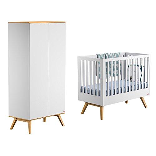 Lit bébé 60x120 et Armoire 2 portes Nature - Blanc
