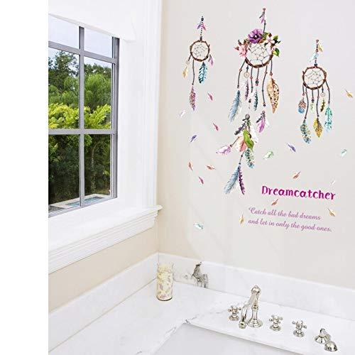 Dreamcatcher's Feather Drop Café Dormitorio Decoración de la ventana Etiqueta de la pared ecológica Calcomanía de red