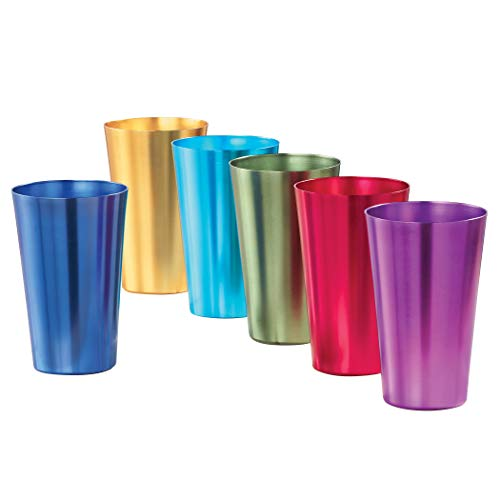 Colorful Retro Style Aluminum Rainbow Tumblers - Set of 6 - Great for Parties or Everyday Use - Vibrant Jewel Tones - Holds 16 oz. - 3.25' Dia x 5.25'H