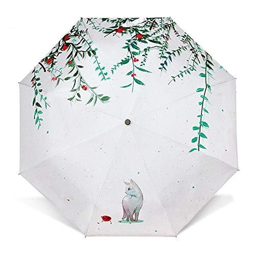 NJSDDB Sonnenschirm Bella niedlich, klein, frischer Regenschirm, dreifach frisch, Katze, Sonnenschirm, kreatives Sonnenschirm, Regenschirm, Damenschoner, Paraguas Mini Sonnenschirm Next Door Kitten