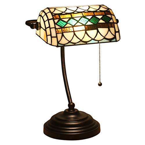 LANMOU Lámpara de Mesa Tiffany Lámpara de Banquero Barroco, Deco Lámpara de Cabecera Dormitorio con Interruptor de Tiro, Pantalla de Vitral Hecho a Mano, Lámpara de Lectura Lámpara de Escritorio Retro