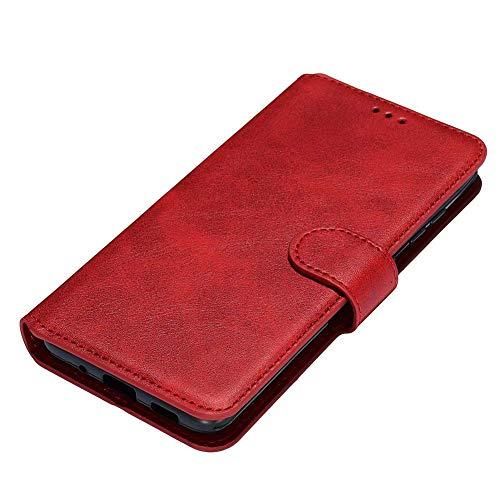 HAOTIAN Hülle für Realme C3 Hülle, Handyhülle Realme C3 Flip Hülle Brieftasche Schutzhülle, Premium Leder mit Ständer Funktion und Kartenfach und Magnetic Snap Cover, Rot