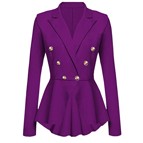 Deloito Damen Mode Langarm Blazer Rüschen Schößchen Taste Beiläufig Jacke Mantel V-Ausschnitt Outwear (Lila,X-Large)