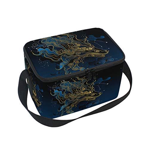 Ahomy Lunch Box Wolf Star Sky Sac fourre-Tout Isotherme Isotherme pour l'extérieur, l'école, Le Bureau, Les boîtes à Repas pour Enfants et Adultes